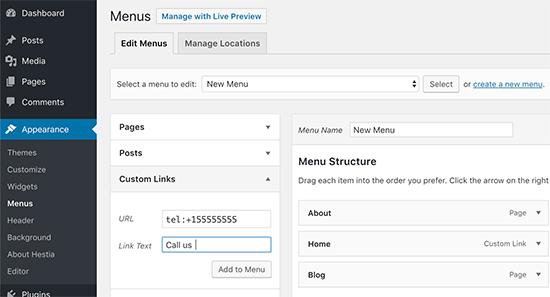 Cách chèn plugin nút phone cho WordPress vào menu